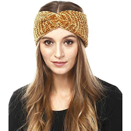 (by you Women's Soft Knitted Winter Headband Head Wrap Ear Warmer (Chenille-Mustard))