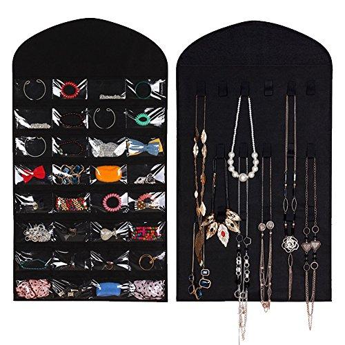 Kangkang@ 32 Pockets 18 Hook Loops & Hanger Dual-side Hanging Jewelry Organizer Holder Storage Bag Earrings Jewelry Display Pouch Makeup