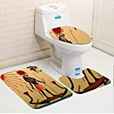 Keshia Dwete three-piece toilet seat pad customEgyptian Illustration of Ancient God Sun Ra Old Egyptian Faith Grace Icons Traditional Pagan Print Multi