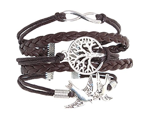 NEVERMORE Multi-Corded Leather Bracelet Antique Silver Tree of Life, Infinity, and Flying Doves CharmsBLACK Friday Special