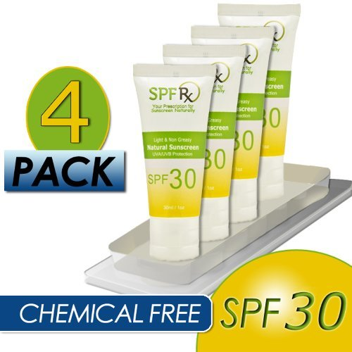 Chemical Free 4 Pack SPF 30 Mineral Sunscreen - Reduces Aging Spots, Restores Firm Skin & Nourishes Skin - Smooth Fine Wrinkles & Skin Tone Appearance - Best Sunscreen for Face & Body (1 oz, 4 Pack)