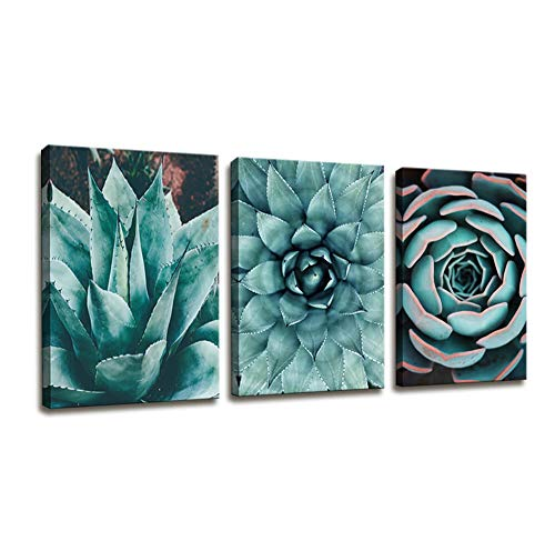 - Canvas Wall Art Contemporary Simple Life Blue Agave Succulents Painting Wall Art for Bathroom Wall Decor - 3 Panels Framed Canvas Prints Tropical Plants Giclee Picture for Home Office Decorations