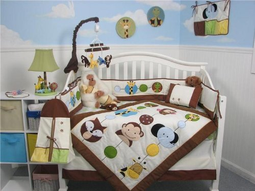 (SOHO Animal Jungle Friends Complete Crib Nursery Set with Diaper Bag.PLUS: FREE BABY CARRIER (for a very limted time only!!!))