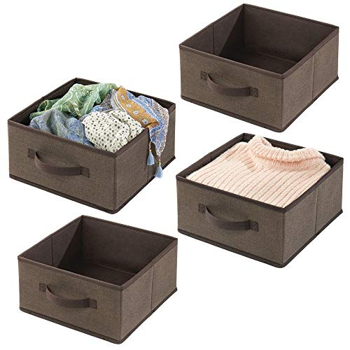 mDesign Soft Fabric Modular Closet Organizer Boxes with Front Pull Handles for Closet, Bedroom, Bathroom, Home Office, Shelves to Hold Clothing, Bedding, Accessories, 4 Pack - Espresso Brown