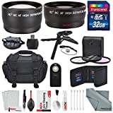 Xpix 52MM 2.2x Telephoto and HD 0.43X Wide Angle w/Deluxe Photo and Travel Bag for Nikon D3200, D3300, D5000, D5100, D5200, D5300, D5500, D7000, D7100 along with cleaning Accessories