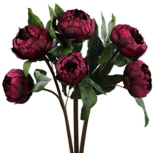 Rinlong Artificial Vintage Peony Silk Flowers Stems 3 pcs Wine Red for DIY Carft Floral Arrangement Home Decor Wedding Bouquet (Peony Silk Flower Stems)