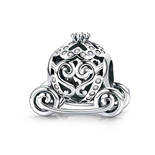 WOSTU Silver Charms 925 Sterling Silver Royal Princess Pumpkin Carriage Charms for Charm Bracelets]()