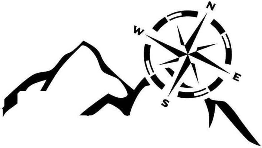 Blanc 15,2 cm x 8,5 cm Boussole de Navigation de Montagne Stukk Stickers Autocollant en Vinyle pour Pare-Chocs de Voiture