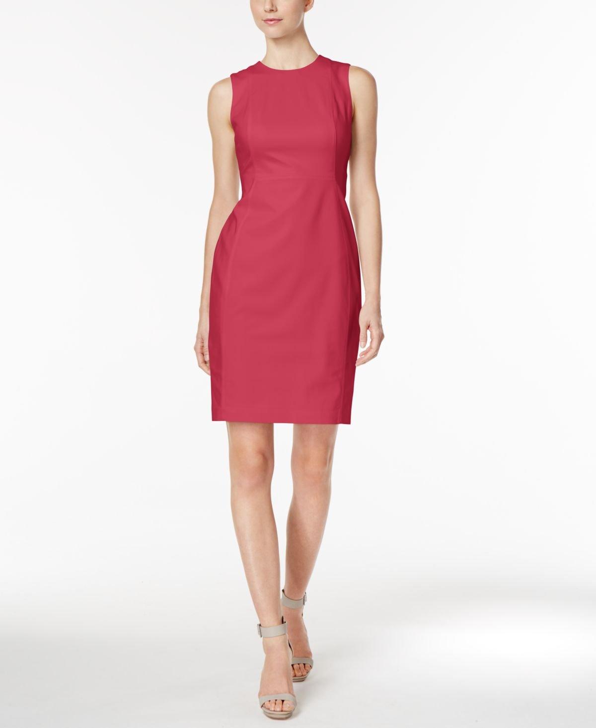 Calvin Klein Women's Cotton Princess Panel Sheath Dress Lipstick Dress