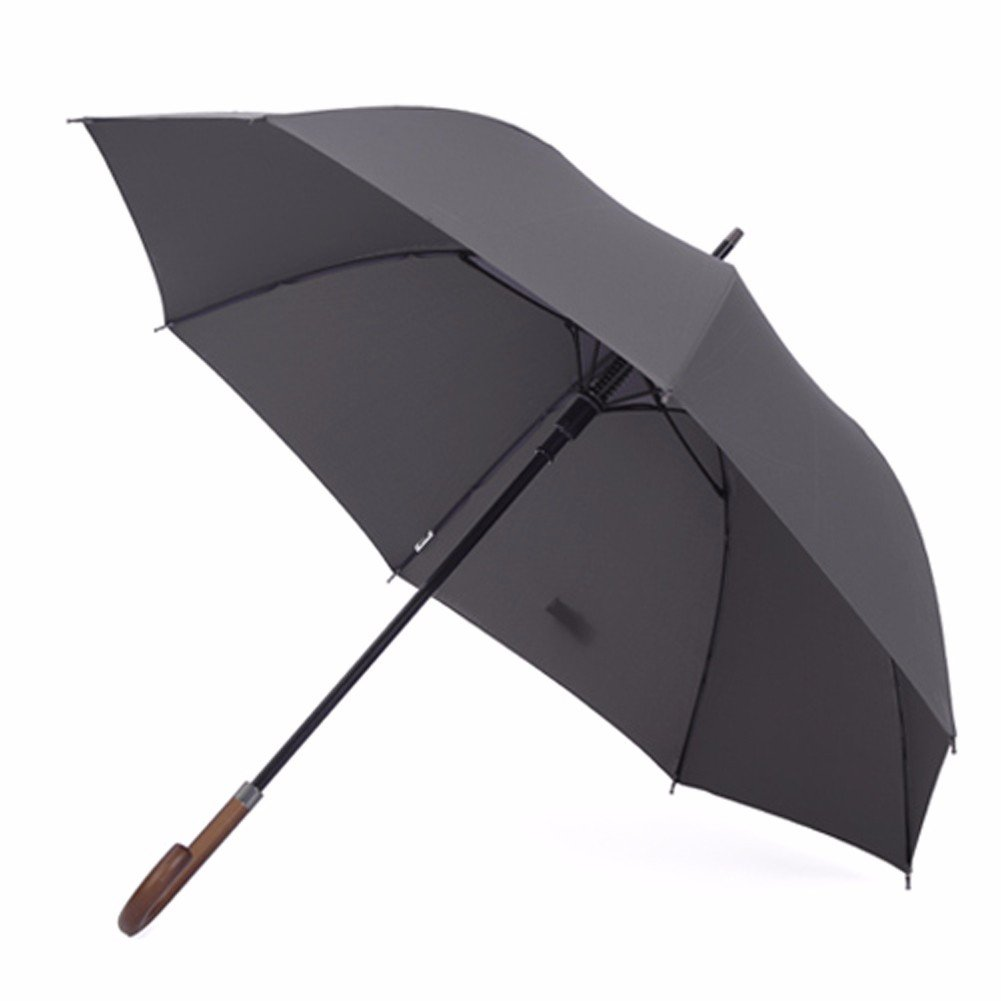 SSBY Japanese automatic umbrella with wooden handle strong wind long handle high force GE business men bar explosion-proof umbrella,Gray