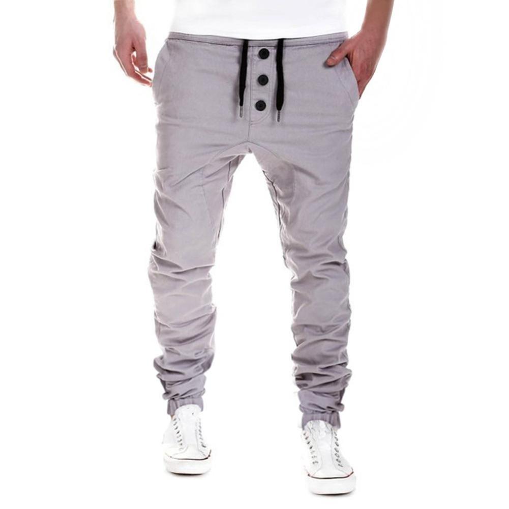 HENPI Hommes Sarouel Pantalons Pantalons de survêtement Pantalons Sportwear Baggy Casual Jogger Danse Coton mélangé (L, noir) ALL STAR