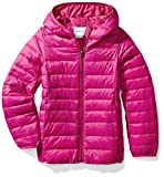 Amazon Essentials Girls' Lightweight Water-Resistant Packable Hooded Puffer Jacket, Fuchsia Purple, Medium