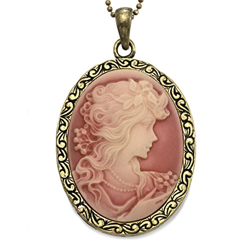 Dark Peach Pink Cameo Pendant Necklace Charm Women Fashion Jewelry (Lady Pendant Necklace Cameo)
