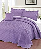 Serenta Quilted Cotton 4 Piece Bedspread Set, King, Regal Orchid