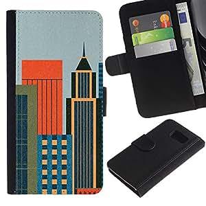 KLONGSHOP / Tirón de la caja Cartera de cuero con ranuras para tarjetas - Big City Architecture Design Colorful Art - Samsung Galaxy S6 SM-G920