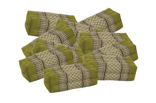 12-piece Value Pack! Kapok Block Pillow Cushion, Traditional Thai Fabric Bamboogreen by Thailand