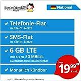 DeutschlandSIM LTE 6000 National [Sim, Micro-Sim und Nano-Sim] monatlich Kündbar (6 GB LTE mit Max. 50 Mbit/s inkl. deaktivierbarer Datenautomatik, Telefonie-Flat, SMS-Flat, 19,99 Euro/Monat)