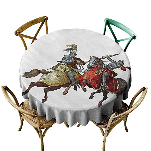 The pattern round table cloth 54 inch Medieval,Middle Age Fighters Knights with Ancient Costume Renaissance Period Illustration,Multicolor Printed Indoor Outdoor Camping Picnic Circle Table Cloth -