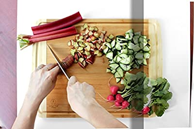 "Eco-friendly Bamboo Cutting Board with Juice Groove, Extra Large and Extra Wide (approx. 18"" x 14""), Reversible, Custom Design Only from Indigo True Company"