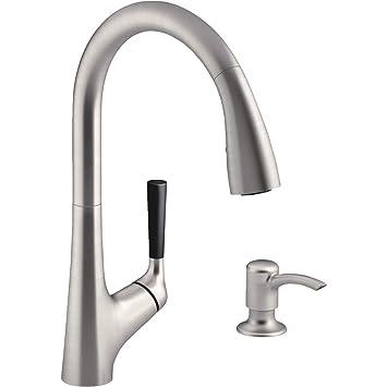 kohler kr562sdvs pulldown kitchen sink faucet with soap