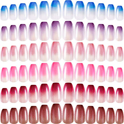 144 Pieces 6 Boxes Press on Nails Medium Ballerina Coffin False Nails with Glitter and Glamorous Pattern Glossy Fake Nails Full Cover Artificial Nails for Women Girls Nail Salon (Gradient Pattern)