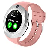Bluetooth Smart Watch With Camera Touch Screen Smart Wrist Watch With Sim Card Slot Fitness Tracker Pedometer For Android Smartphone Samsung Sony Men Women Kids (Pink)