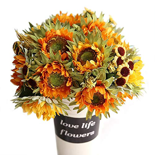 Lvydec 2pc Artificial Sunflower Bouquet  10 Silk Flower Head Vintage Fake Flower with Wheat and Chrysanthemum Decoration for Home Wedding