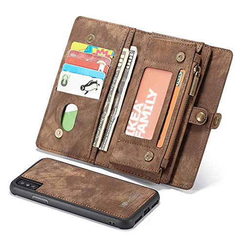 OutTop iPhone Xs Max 6.5Inch Case New Caseme 2-in-1 14 Slots Wallet Genuine Zip Leather Case for Apple iPhone Xs Max (6.5 inch, Brown)