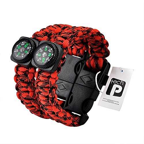 TECH-P Survival Gear Paracord Bracelet Compass Fire Starter Scraper Whistle Gear Kits- 2 Pack (Red Camouflage, 9' (kids))