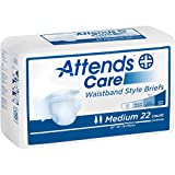 Attends Care Waistband Style Briefs with Odor-Shield for Adult Incontinence Care, Medium, Unisex ,  22 Count (Pack of 2)