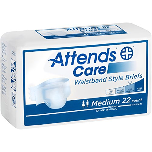 Attends Care Waistband Style Briefs with Odor-Shield for Adult Incontinence Care, Medium, Unisex ,  22 Count (Pack of 2) Attends Adult Diapers