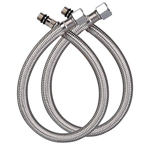 HOMEIDEAS 16-Inch Faucet Connector 3/8-Inch Female Compression Thread x M10 Male Braided Stainless Steel Supply Hose Connector Replacement Pack of 2(1 Pair)