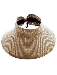 578a01e3416c7 Gilroy Womens Girls plegable Enrollar grande Brim Sun Visor de playa  plegable sombrero de paja