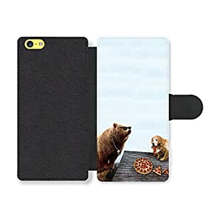 Surreal Sunglasses Bear and Pepperoni Pizza Dog on Hipsters Roof Faux Leather case for iPhone 5C