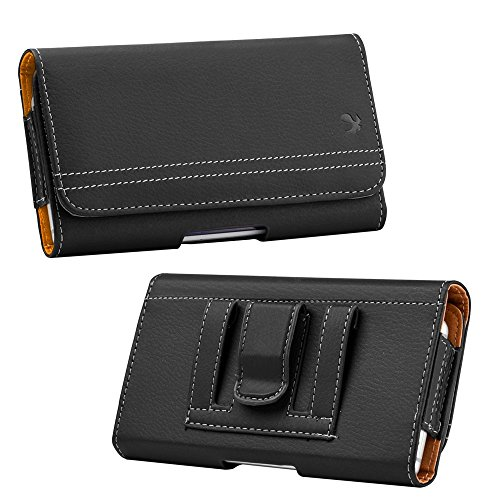 Nokia Carry Case - Luxmo Holster Case for Nokia 2V (Verizon) - PU Leather Stitched Phone Carrying Wallet Pouch with Inner Card Slot and Atom Cloth for Nokia 2V (Verizon) - Black