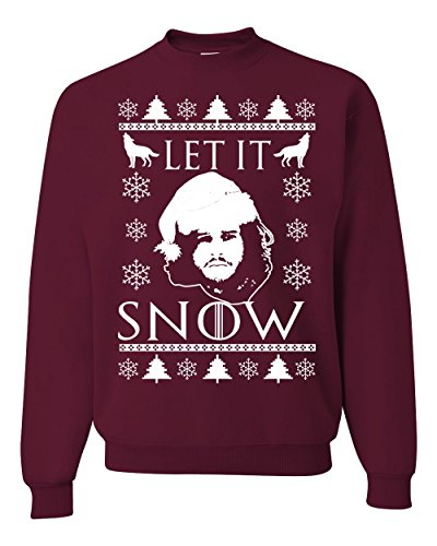 Stark GoT Ugly Christmas Sweater Unisex Crewneck Sweatshirt ( Maroon , 3XL ) ()