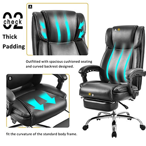 Merax Executive Reclining Office Chair High Back Napping Chair Big & Tall Thick Padded Ergonomic Office Recliner Computer Desk Chair with Footrest for Home and Office (Black)
