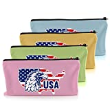 USA Zipper Pouch by Kangazon - Easily Carry and Store Your Stuff - 4 Pack of Colorful Canvas Tool Bags - Dependable YKK Zipper Never Gets Stuck - Heavy Duty Bags - 12.5 x 7 inches
