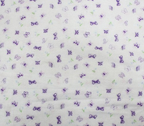 Cotton Flannel Fabric BUTTERFLY PURPLE / 45