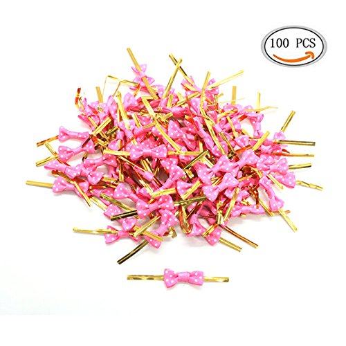 IDS Pack of 100 Lovely Cute Bow Twist Tie for Biscuit Bakery Candy Lollipop Bag, (Bow Tie Cake)