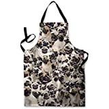 PUGS ALL OVER DESIGN APRON KITCHEN BBQ COOKING PAINTING MADE IN YORKSHIRE by L&S PRINTS