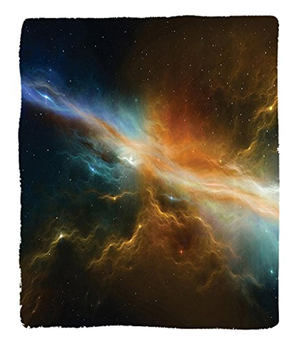 Chaoran 1 Fleece Blanket on Amazon Super Silky Soft All Season Super Plush Outerpace Decor Collection Astronomy Celestial Meteoriteupernova Dark Mysteriouspace Picture Fabric et Dark Turquoise by chaoran