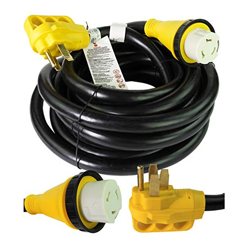 Leisure Cords 25' Power/Extension Cord with 50 AMP Male Standard / 50 AMP Female Locking Adapter (50 Amp - 25 - Lighting Anp