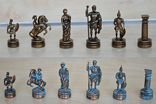 Manopoulos Romans Small Chess Set - Blue-Copper - Handmade in Greece