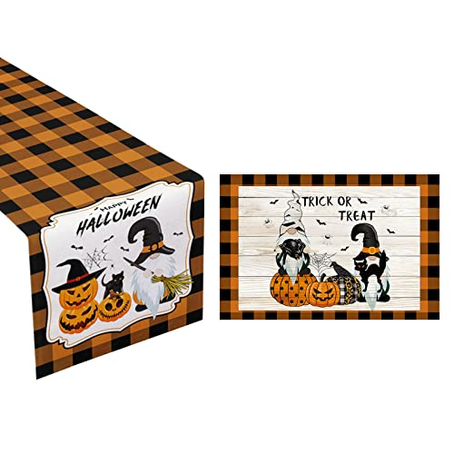 Halloween Table Runner & Doormat Buffalo Check Decoration Set of 2, Grimace Pumpkin Dwarf Home Festival Decor for Kitchen Coffee Table Family Dinners Dresser Indoor Outdoor Party Setting