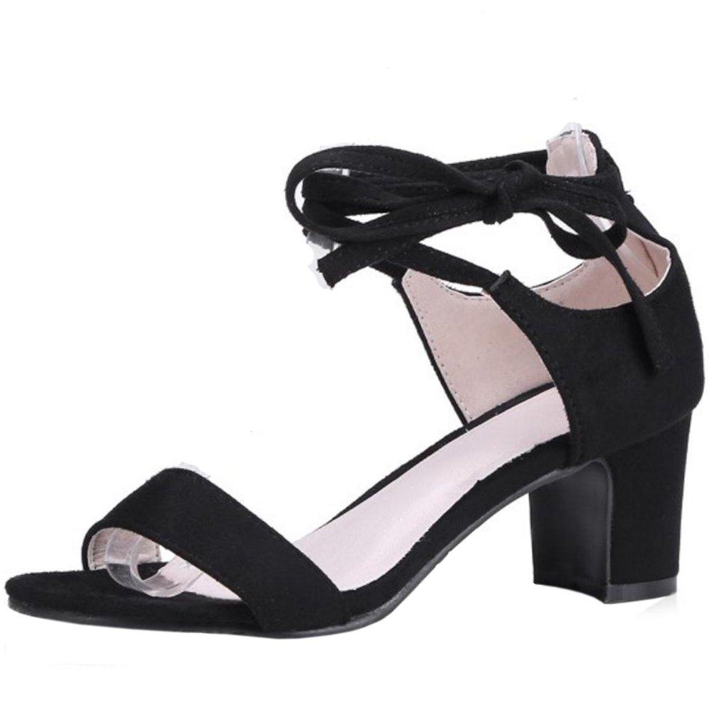 TAOFFEN Damen Schnurung Sandalen Sommer Schuhe Absatz  34 EU|Black-2