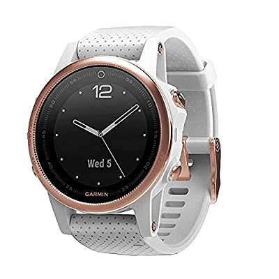 Garmin Fenix 5S 42mm Multisport GPS Watch - Rose Goldtone Sapphire with White Band (010-01685-16) + 1 Year Extended Warranty