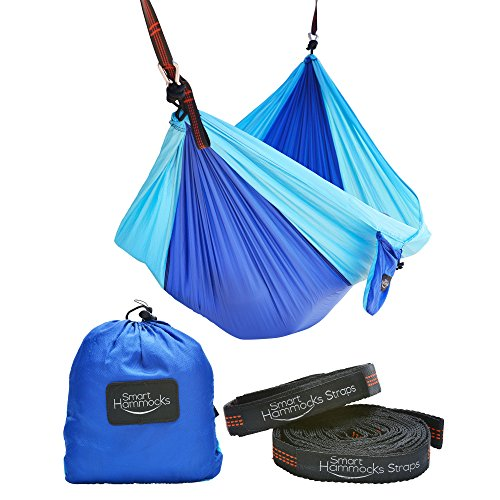 Smart Hammocks - Camping Hammock Plus Double Hanging Suspension Tree Straps and Carabiners - Portable Parachute Folding Light Weight Gear - Great for Hiking Backpacking Kayaking Indoor and Outdoor