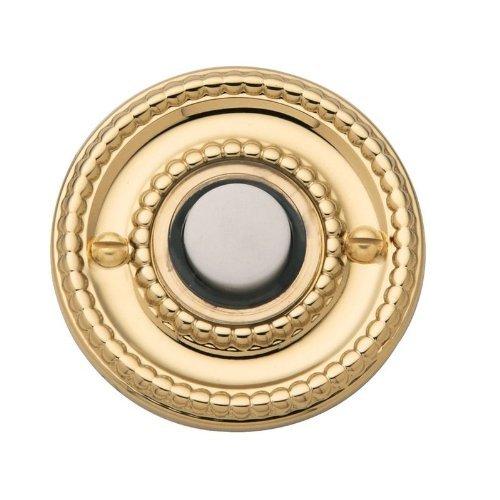 """Baldwin Estate 4850.030 Beaded Door Bell Button in Polished Brass, 1.75"""" Diameter"""