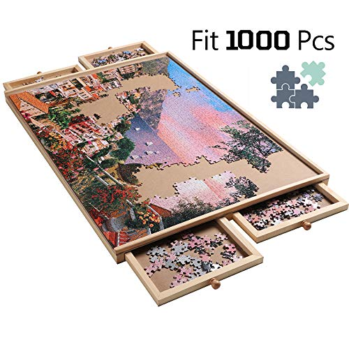 "Stand Size Wooden Puzzle Plateau Portable Jigsaw Puzzle Table with Smooth Fiberboard Work Surface - Four Sliding Storage Drawers for Puzzles Up to 1000 pcs, 21"" x 29"""